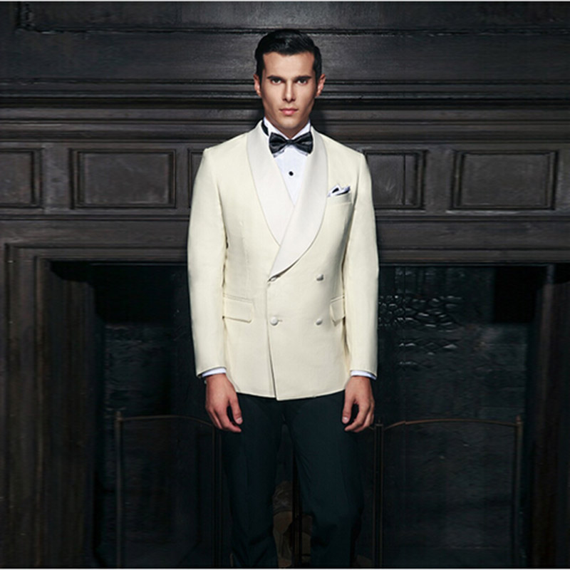 New Arrival Mens Suits Groomsmen Shawl Lapel Groom Tuxedos off-white Wedding prom Best Man Suit Customize made
