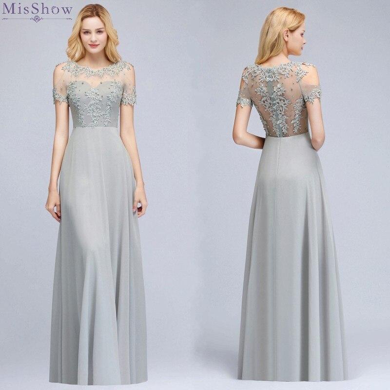 Robes de bal longues en argent 2019 une ligne robe de bal rose robe de soirée sans manches appliques de gala jurk