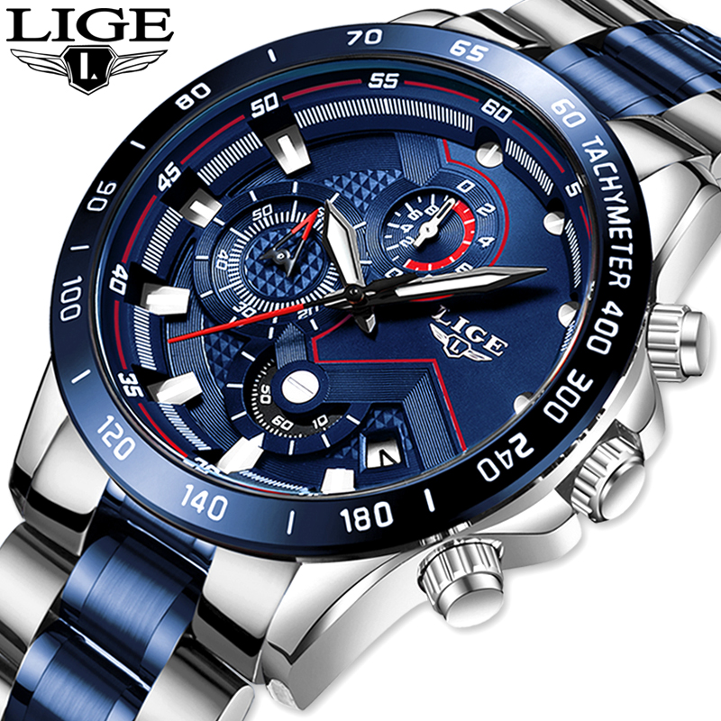 2019 LIGE Mens Watches Mens Business Analogue Clock Fashion Stainless Steel Sports Waterproof Luminous Watch Men Relojes Hombre