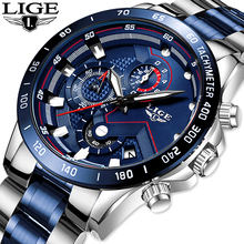2019 LIGE Mens Watches Mens Business Analogue Clock Fashion Stainless Steel Spor