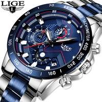 2020 LIGE Mens 시계 Mens 사업 아날로그 시계 유행 스테인리스 스포츠 방수 빛난 시계 남자 Relojes Hombre|수정 시계|   -