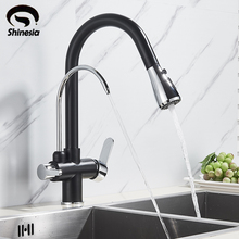 Mixer Tap Sinks Deck-Mounted Kitchen Faucet WATER-CHROME-FILTER Rotation Hot-Cold-Water