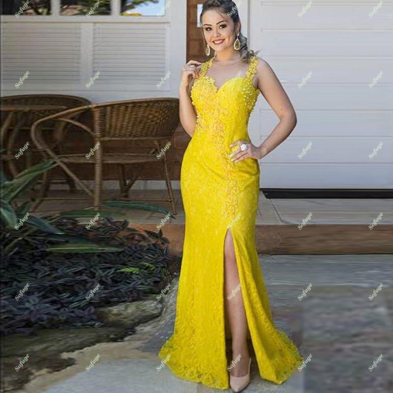 Yellow Lace Mermaid Evening Dresses Prom High Slit Illusion Bodice Cheap Vestidos De Fiesta De Noche Robe Soiree Plus
