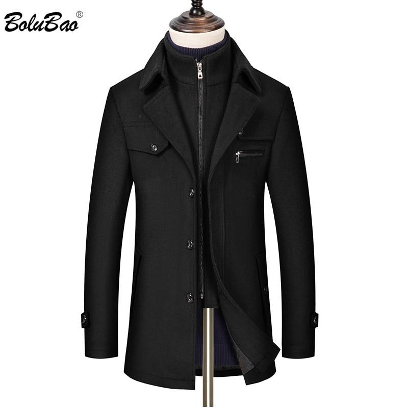 BOLUBAO Brand Wool Blend Coats Men Winter New Men's High Quality Thick Casual Wool Coat Fashion Wild Wool Overcoat Male
