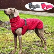 Cão jaqueta ao ar livre à prova dwaterproof água reflexiva pet casaco colete inverno quente algodão cães roupas para grandes cães médios labrador
