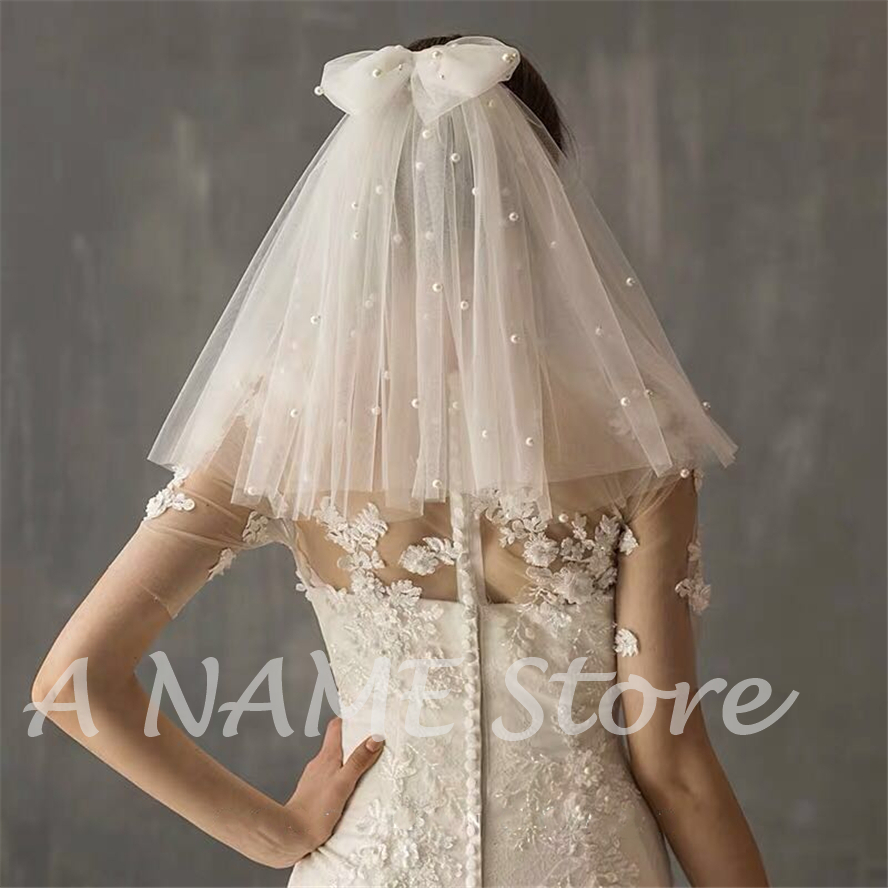 ISHSY Short Cute Bridal Wedding Veils Two Layers With Comb Bows Pearls Tulle Veil Mini For Brides Voile De Mariage Velo De Novia