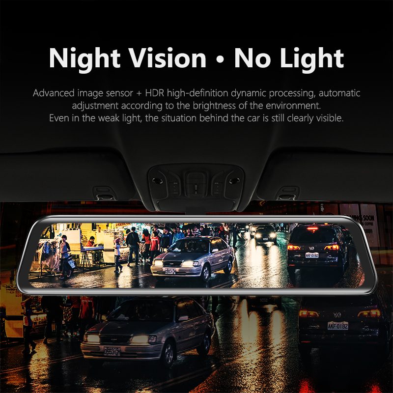 VVCAR-V17 12-inch RearView Mirror Car Dvr Camera Dashcam GPS FHD Dual 1080P Lens Driving Video Recorder Dash Cam Gift-32G Card 3