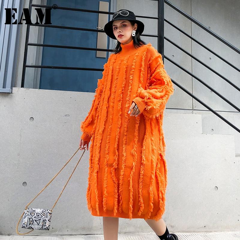 [EAM] Women Orange Tassels Big Size Knitted Dress New High Collr Long Sleeve Loose Fit Fashion Tide Spring Autumn 2019 1K362