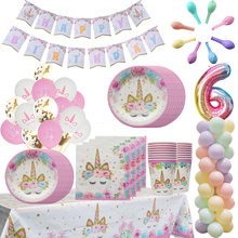 MEIDDING Unicorn Party Decor Disposable Tableware Kids Birthday Decoration Plates Cups Baloons Holder Supplies