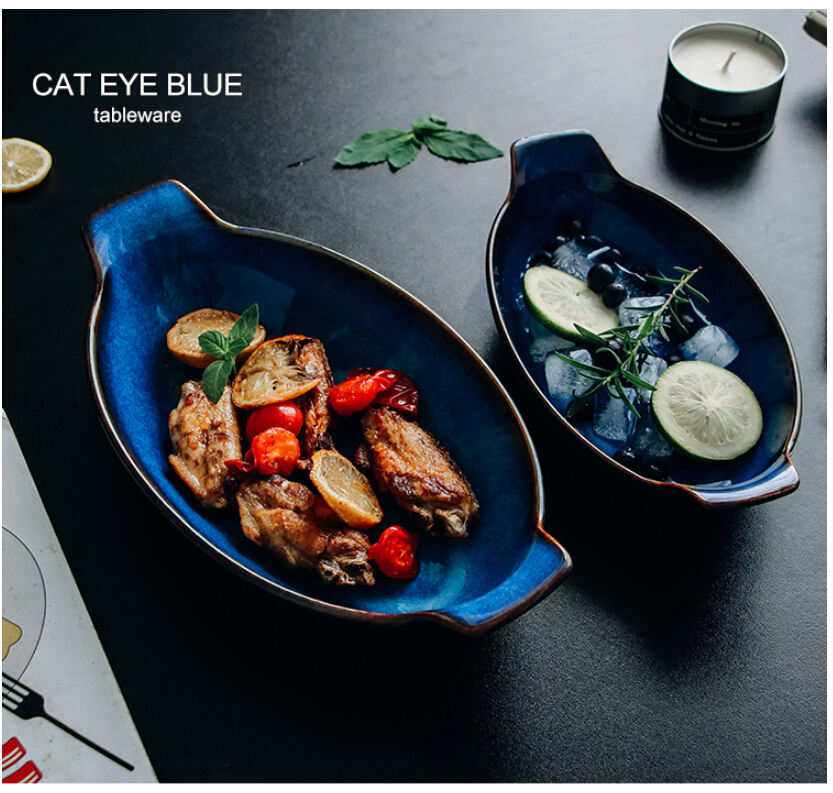 Kinglang Klin Blue Boat Shaped Plate Ceramic Long Fish Bowl Baking Cheese Bowl Dish Dishes Plates Aliexpress
