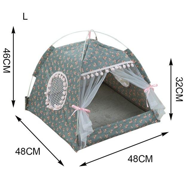 2019 Portable pliable chien tente maison respirant impression chat maison avec Net extérieur intérieur maille chat petit chien tente maison