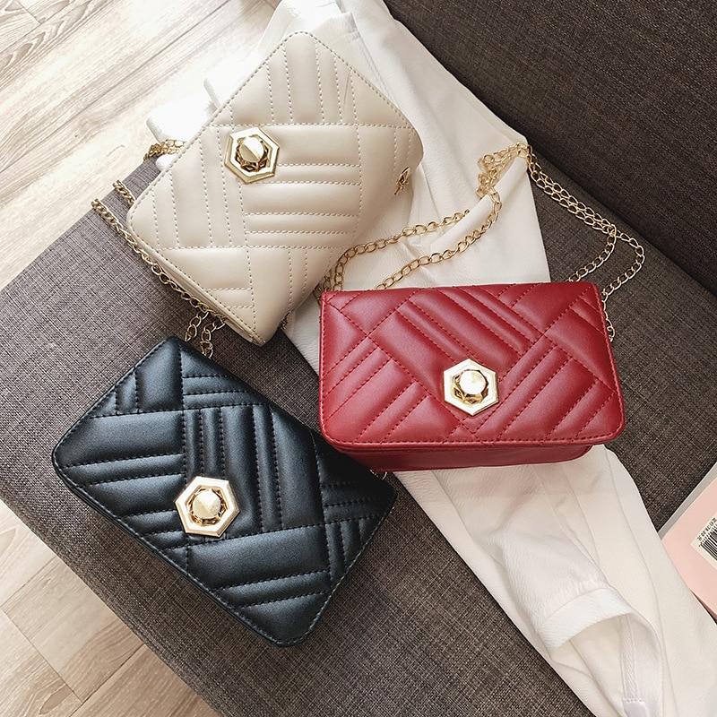 2019 New Style Fashion Spiraea Square Sling Bag Versatile Round Lock Bag With Chain Backpack Casual Shoulder Bag Shoulder Bag