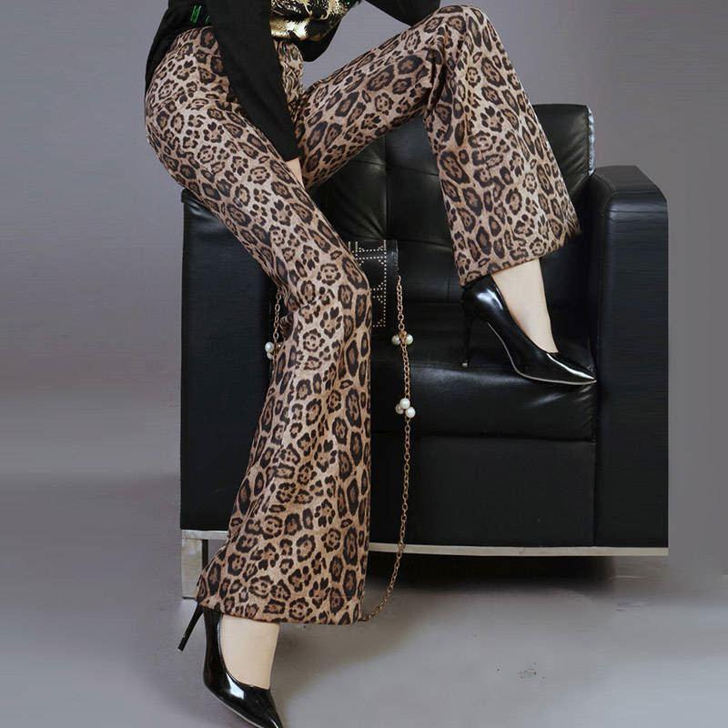 Junelove mulheres outono plus size calças do vintage feminino casual leopardo estiramento cintura alta longa flare pant estampa animal bottoms