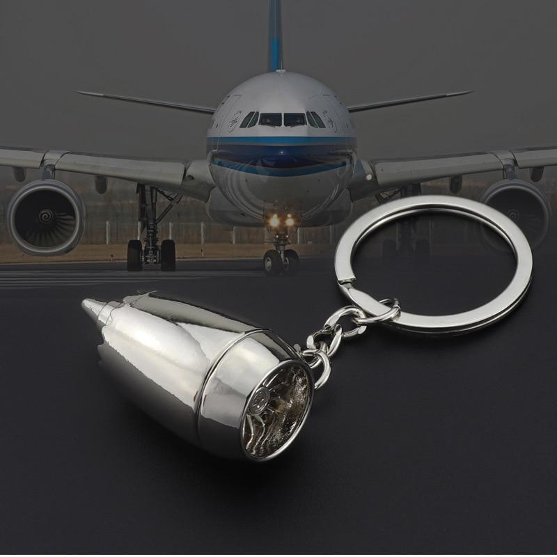 MKENDN New Design Metal Plane Engine Keychains Mini Jet Engine Keyrings Gifts Custom LOGO