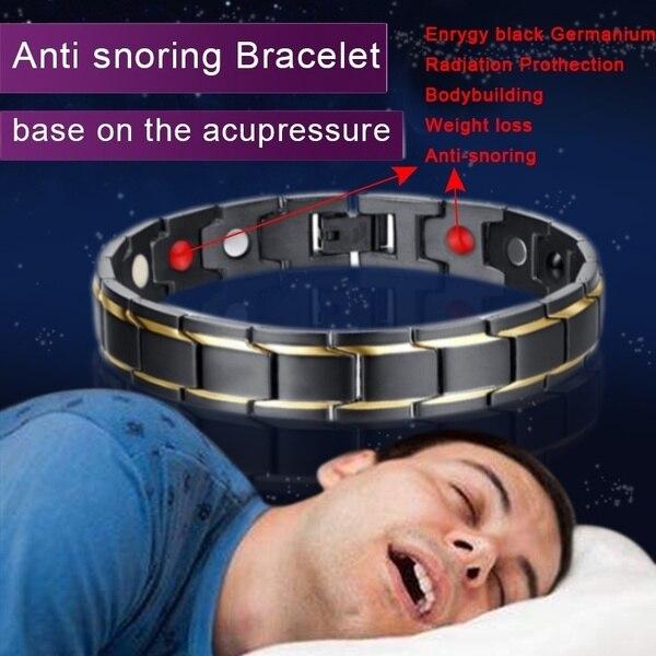 New Hot Men Magnetic Therapy Bracelet Classic Titanium Steel Anti-snoring Health Care DC88 Anti Snore Wrist Watch Sleep Snoring