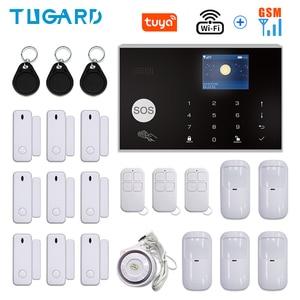 Tuya WIFI GSM Home Burglar Security Alarm System 433MHz APP Control LCD Touch Keyboard 11 Languages Wireless Alarm System Kit
