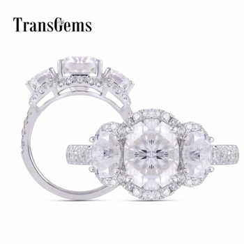 TransGems 14K 585 White Gold Three Stone 3ct 8*10mm Oval Cut GH Color Moissanite Engagement Ring For Women Anniversary Gifts - DISCOUNT ITEM  5% OFF All Category