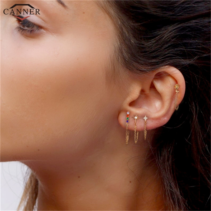 CANNER Rainbow Zircon Moon Star Stud Earrings for Women 925 Sterling Silver CZ Crystal Earrings 2019 Gold Color Chain Earring H4(China)