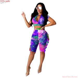Tie-dye Print Ruffle Ziper Crop Top Shorts Pants Summer Casual Fashion Sets Sleeveless 2 Two Piece Short Set Women Half and Half(China)