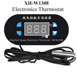 XH-W1308 W1308 Electronics Thermostat Temperature Controller Heat Cool Temp adjustable Thermostat with Sensor probe 40% Off