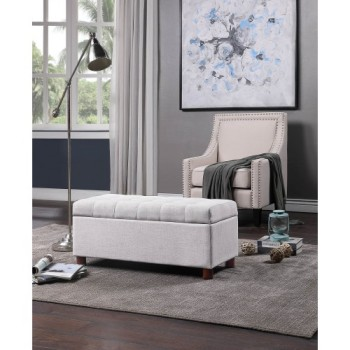 【USA in Stock】U_STYLE 39'' Storage Bench Tufted Linen Fabric Ottoman Storage Bench Beige , free dropshipping  out door furniture 1
