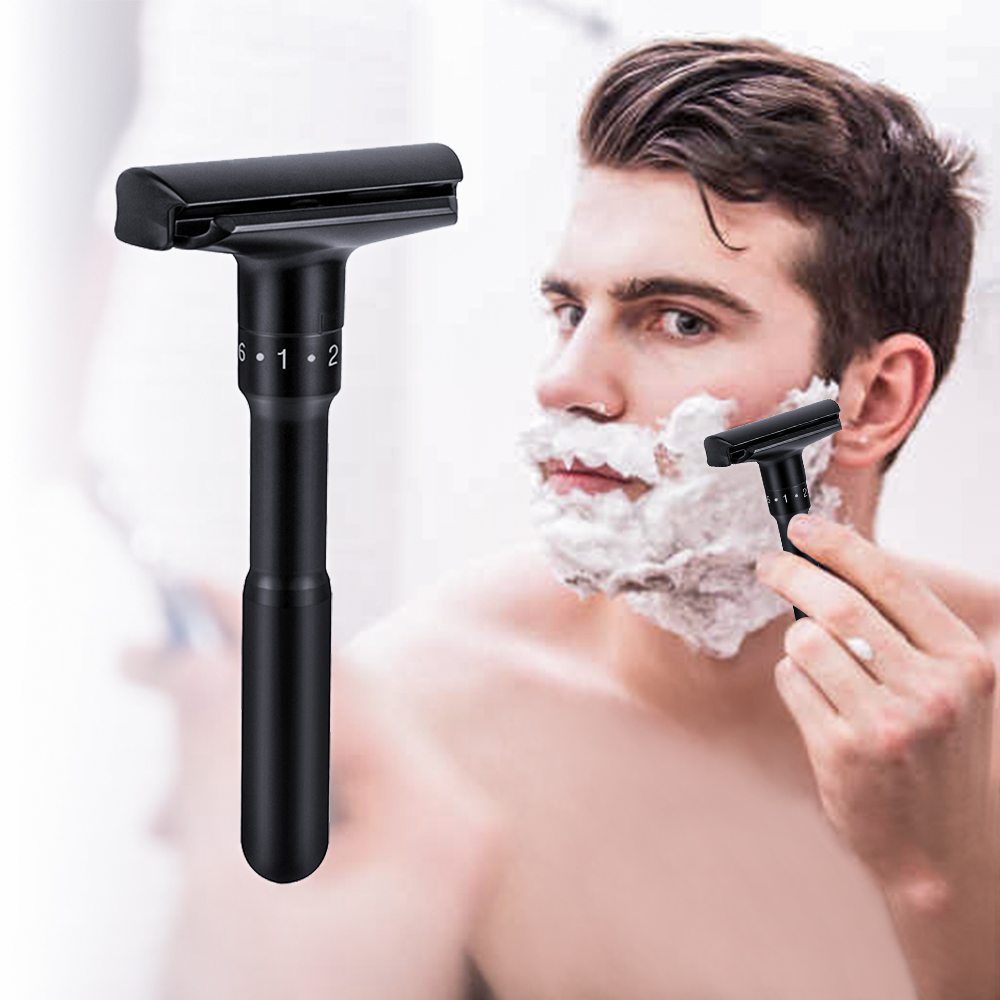 New Hot Sell Adjustable Razors Mens Safety Double Edge Razor Black Classic Shaving Razor Shaver Base 1 Handle & 5 Blades 1 Box