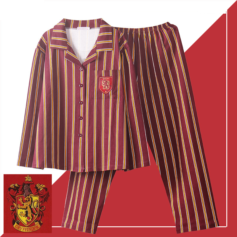 3 Piece Gryffindor Slytherin Long Sleeve Potter Sleepwear Pajamas Suit Cosplay Costume Autumn Unisex