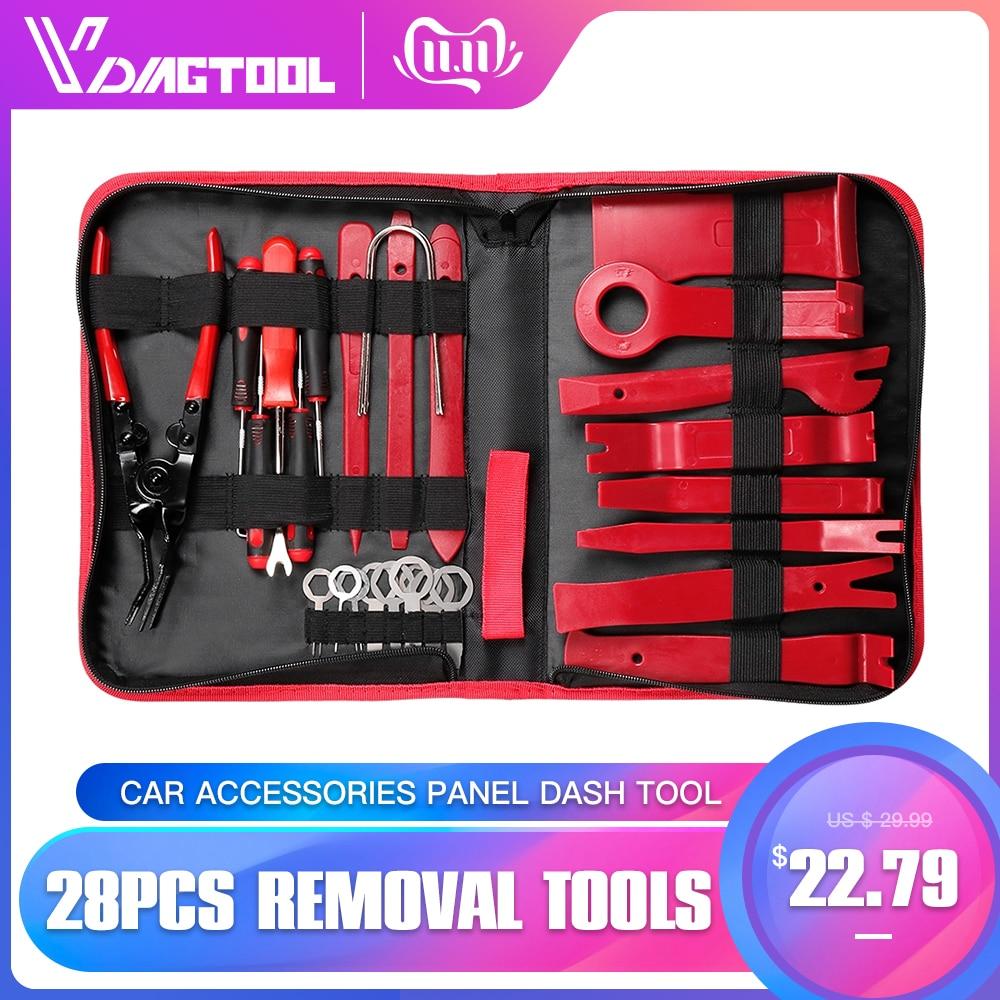 VDIAGTOOL 28PCS Car Radio Removal Tools For Vehicle Door Window Repair Kits Car Accessories Panel Dash Tool