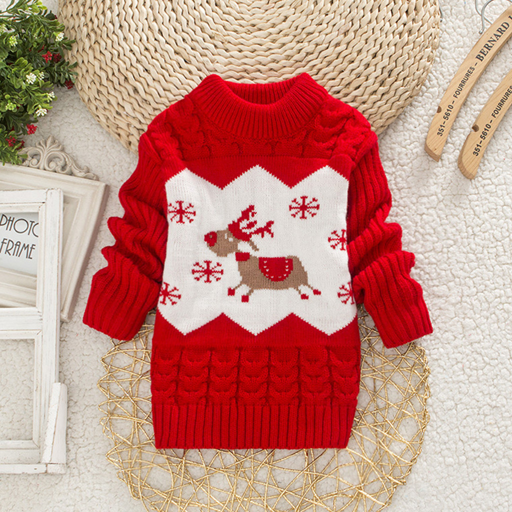 Toddler Baby Kid Autumn Winter Long Sleeve Print Christmas Deer Tops Sweatshirt