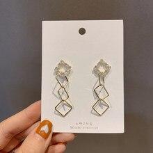 MENGJIQIAO-pendientes de gota cuadrada de Metal para mujer y niña, aretes de circón coreano elegante, joyería