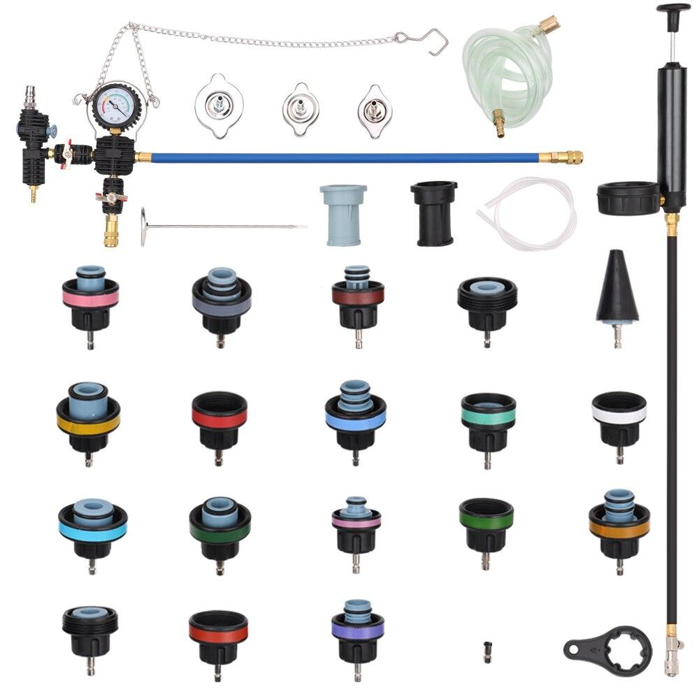 28pcs Car Special Tool Water Tank Leak Detector Universal Radiator Pressure Tester Vacuum Type Cooling System Detector Kits