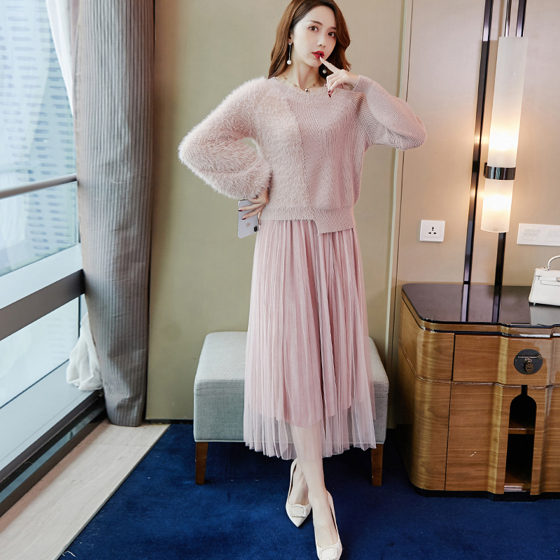 Fashion Set 2020 Spring New Style Korean-style WOMEN'S Wear Elegant Fashionable Sweater Skirt Two-Piece 9518