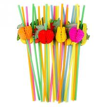 50PCS Colorful Fluorescent DIY Tropical Party Decoration Club Drinking Cocktail Wedding Bar Supplies 3D Disposable Straw