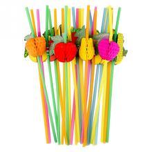 Decoração do clube da festa tropical 50 peças, colorido fluorescente diy beber coquetel casamento bar suprimentos 3d palha descartável