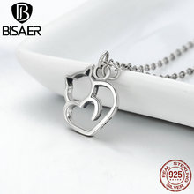 2020 New Arrival 925 Sterling Silver Cute Animal Necklace Lovely Cat Heart Pendant Necklace for Women Silver Jewelry HSN188