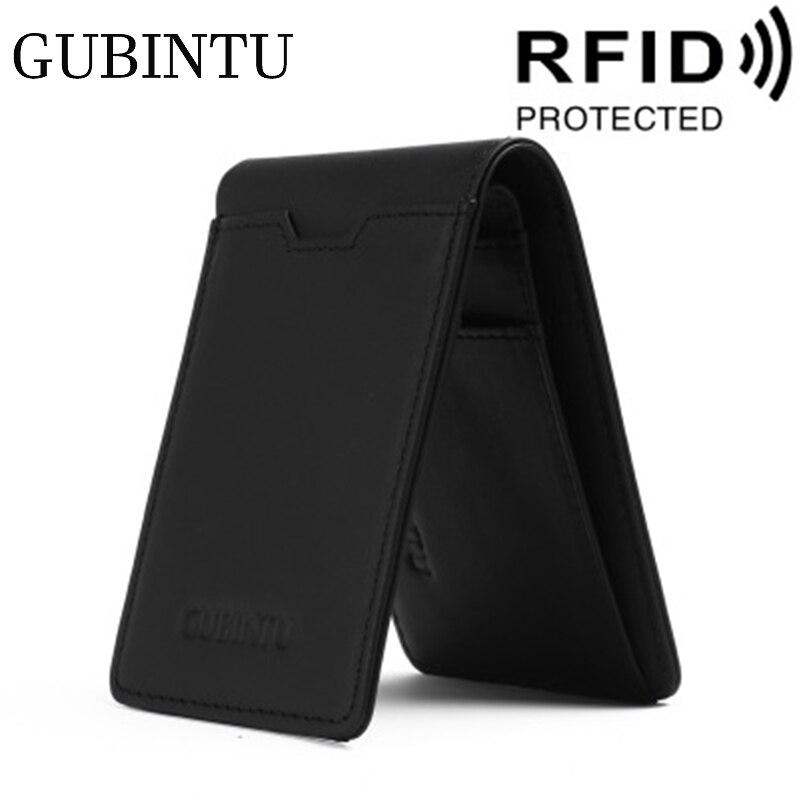GUBINTU Credit Card Holder Genuine Leather Card Wallet Bifold Front Pocket Wallet With RFID Business Luxury ID Card Holder