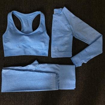 2020 kobiet bez szwu jogi zestaw Fitness garnitury sportowe siłownia tkaniny joga koszule z długim rękawem wysokiej talii legginsy do biegania odzież do ćwiczeń tanie i dobre opinie wondergym Poliester WOMEN Pełna Pasuje prawda na wymiar weź swój normalny rozmiar Stałe Szybkie suche women seamless leggings yoga pants shirt set