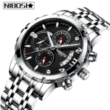 цена NIBOSI Relogio Masculino Mens Watches Fashion Top Brand Luxury Quartz Watch Men Full Steel Waterproof Sport Business Men Watch онлайн в 2017 году