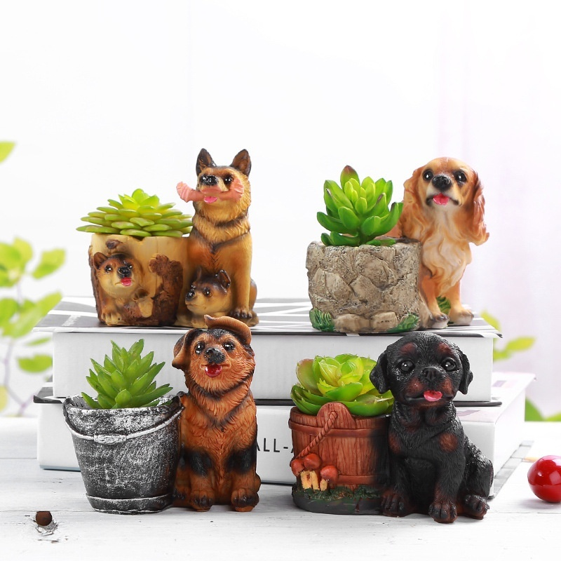 1PC Dog Cartoon Succulent Plants Pots Decorative Desktop Flower Resin Flower Basket Without Planters For Succulents Ceramic