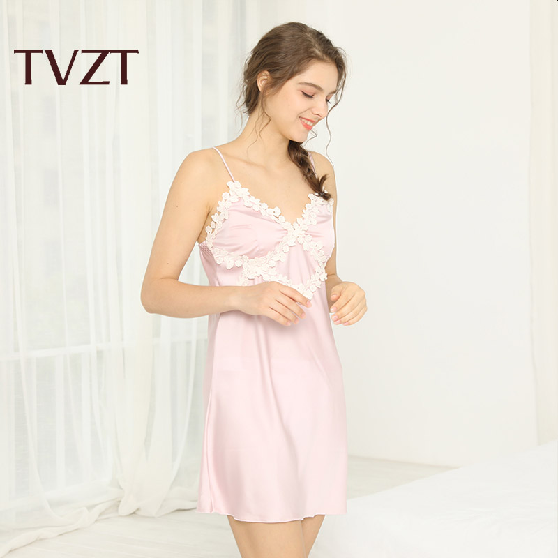 Tvzt 2020 New Chinese Girl Robe Satin Nightgown Sexy Nightshirt Sleepwear Lace Black Bath Gown Casual Home Night Dress