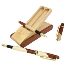 Stationary Set Two Type Pens with Case from Nature Maple Wood Wooden Writing Materials Stationery Joy Corner