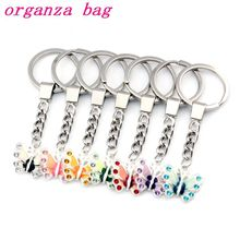 30mm Keychaino Enamel Butterfly Key Ring Travel Protection 22x20.5mm Pendant 21pcs/lots 7 color A-511f1