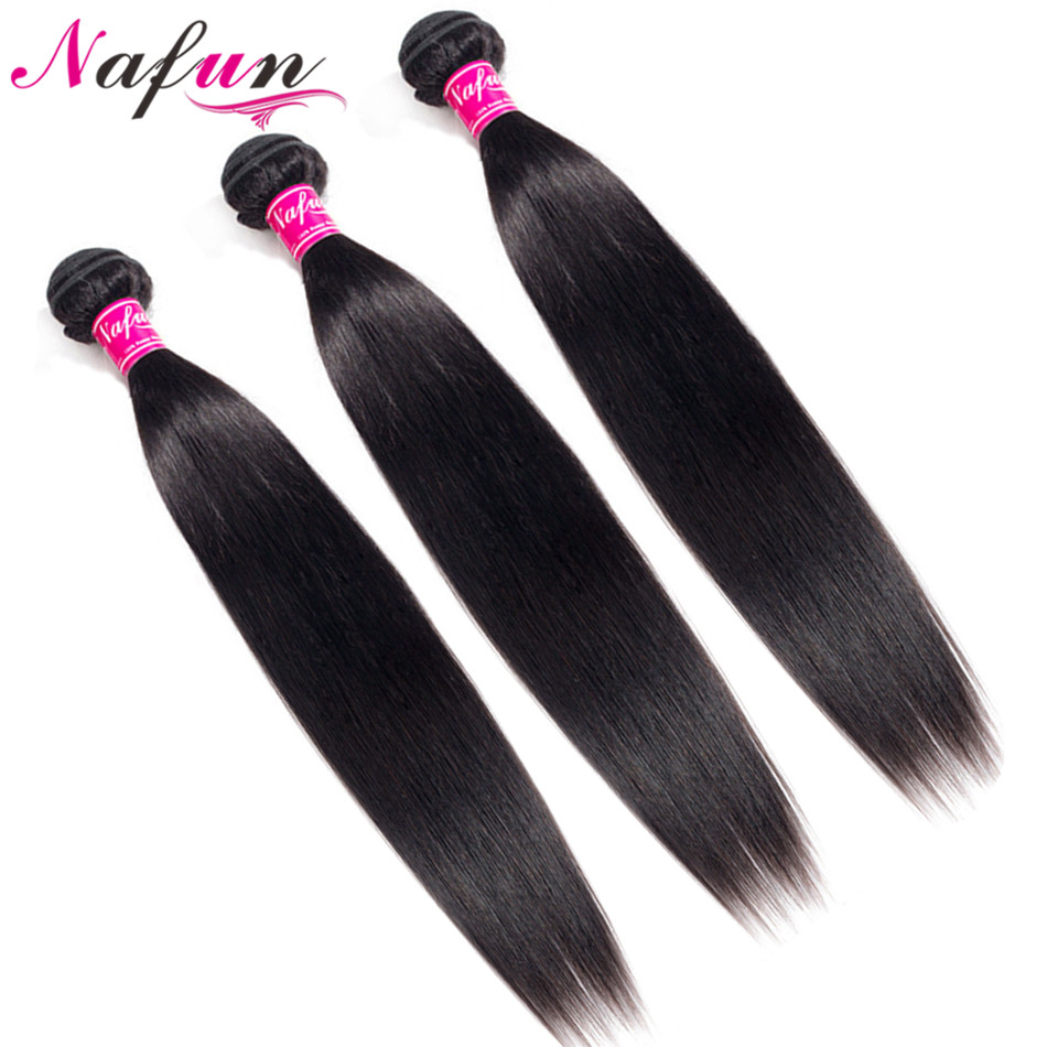 Brazilian Hair Weave Bundles 28 30 Inch Bundles Straight Human Hair Bundles Non-Remy Sew In Hair Extension Natural Color NAFUN