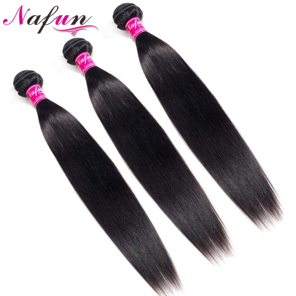 Brazilian Hair Weave Bundles Hair Vendors Straight Human Hair Bundles Non-Remy Sew In Hair Extension Wholesale Bundles NAFUN