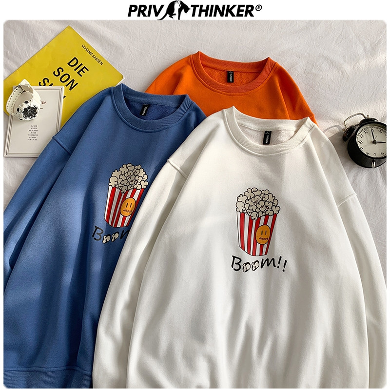Privathinker Men 2020 Colorful Spring Hoodies Unisex Fashion Pullover O-Neck Sweatshirt Male Fashions Print Clothes Oversized