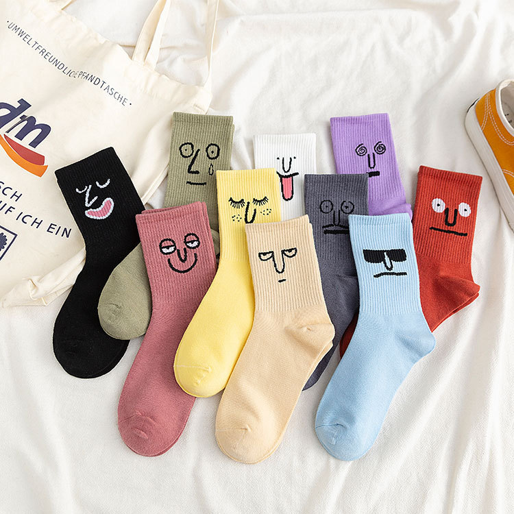 Funny Cartoon Expression  Socks Happy Candy Color Kawaii Embroidered Cotton Winter Fashion Women Men Couple Cute College Socks