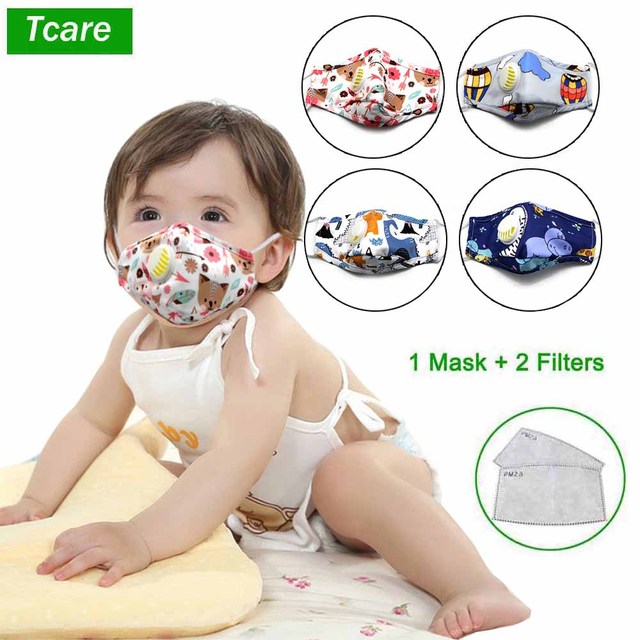 Kids Cotton PM2.5 Cute Cartoon Masks Mouth-Muffle Face-Shields with Breathing Valve And 2 Filters for 2-12 Years Old Children