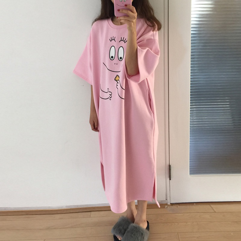 Women New Fashion Novel Cartoon Print Pink   Sleepshirts   Sweet Cute Loose Casual Half-sleeved Nightdress
