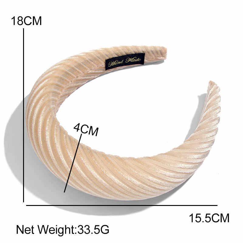 Flatfoosie 2019 femmes épais velours bandeaux de mode bandeaux à la main 4CM de large de haute qualité mode chapeaux accessoires de cheveux