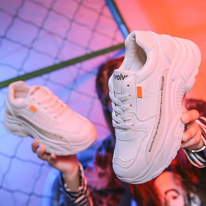 Ayakkabı kadın Tenis Feminino 2019 moda bölünmüş deri tıknaz ayakkabı kadın platformu Sneakers İlkbahar sonbahar kadın rahat ayakkabılar